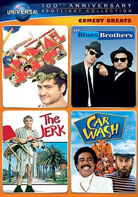 Comedy greats. National Lampoon's Animal house ; The Blues Brothers ; The jerk ; Car wash