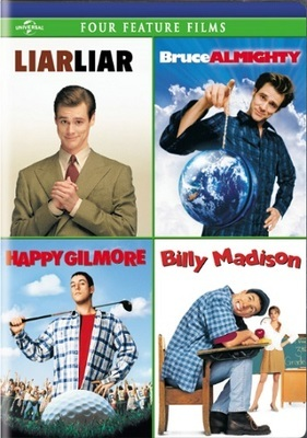 4-movie laugh pack : Liar liar. Bruce almighty. Happy Gilmore. Billy Madison.