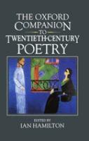 Oxford companion to twentieth-century poetry in english
