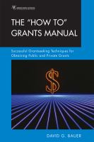 """The """"How To"""" Grants Manual : successful grantseeking techniques for obtaining public and private grants"""