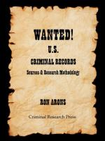 Wanted! U.S. criminal records : sources & research methodology